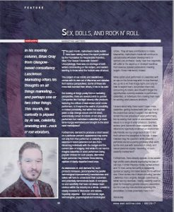 Celebrity sex robots, branding and licensing sex toys. Brian Gray from erotic marketing agency Lascivious Marketing marketing column in EAN erotic retail magazine Aug 2017 text (c) Lascivious Marketing, image design (c) EAN
